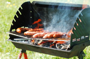 Printed roller blinds Grill / Barbecue saucisses sur barbecue
