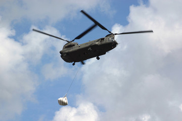 airlifting sandbags