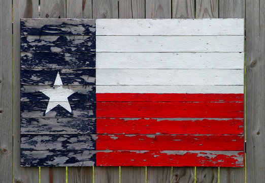 painted wood texas flag