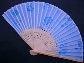chinese refined blue fold silk fan,unfold,vetical