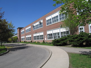 school building and driveway