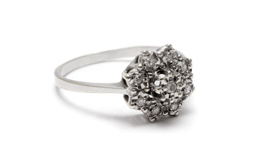 diamond blossom silver ring - macro