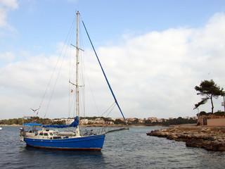 blue ship in majorca