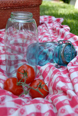vintage glass tomato canning jar