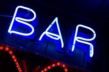 blue neon sign bar