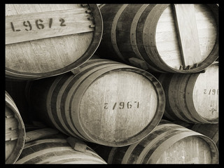 black and white beer barrels