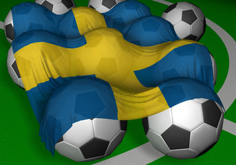 3d-rendering sweden flag and soccer-balls