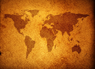 world map over grunge background