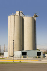 silo with the storage barn in the front