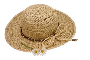 straw hat with daisies