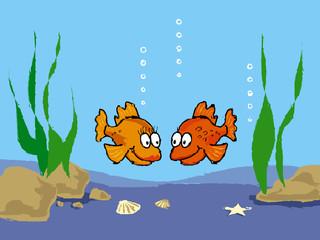Poster Submarine goldfish cartoon