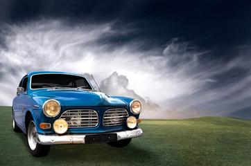 blue old car