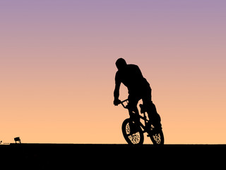 cyclist and bike, concept