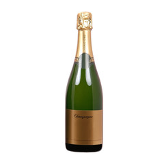 isolated bottle of champagne with blank label