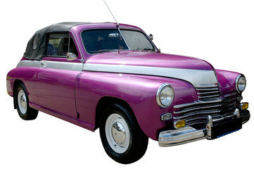 Aluminium Prints Old cars purple retro car isolated