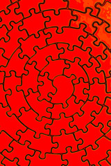 complete jigsaw in red