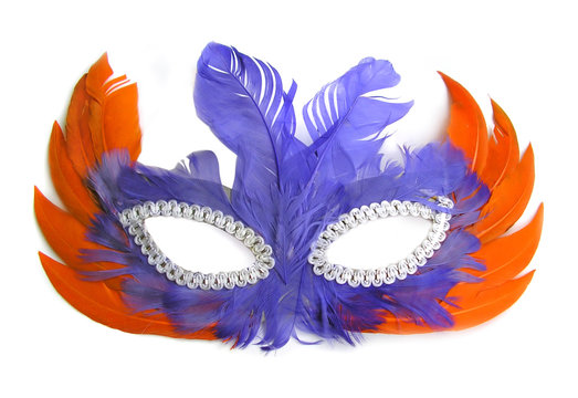 carnival mask, orange and purple feathers