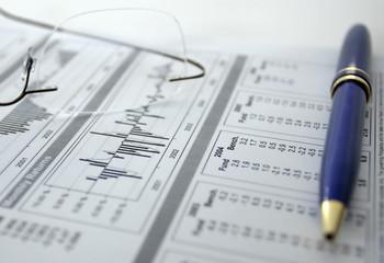 finances, graphiques, statistiques, plume