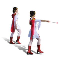 two majorettes with white dresses, red boots and s