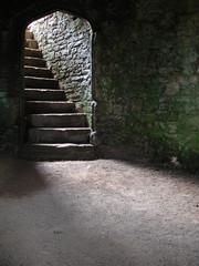 Printed kitchen splashbacks Castle stairway in castle cellar/dungeon