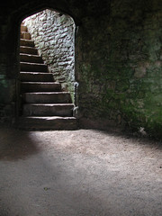 Printed roller blinds Castle stairway in castle cellar/dungeon
