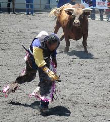 bull chasing cowboy