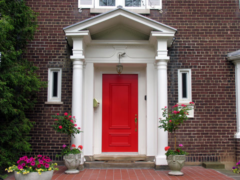 house front with red door