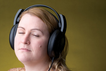 woman listing to music