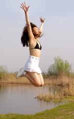 jumping from joy