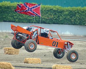 orange sand car landing