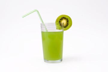 slice of kiwi and glass of kiwi juice with straw