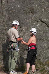 male & female climbers