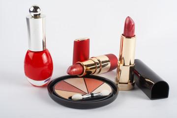 detail of assortment of makeups.  macro shot