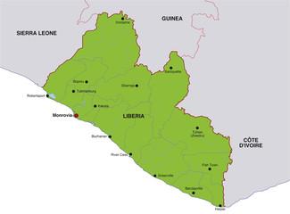 map liberia landkarte liberia