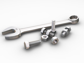 spanner, nuts and bolts