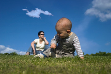 playing on the grass