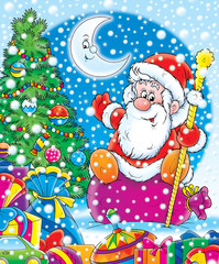 santa claus with christmas fur-tree and gifts
