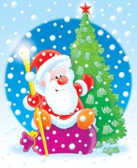 santa claus with a money fur-tree