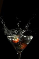 Poster de jardin Eclaboussures d eau strawberry splash