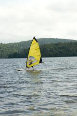 yellow catamaran