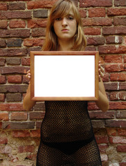 girl with empty frame