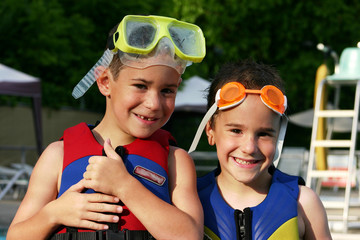 boys in life jackets
