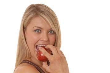 lovely girl and apple