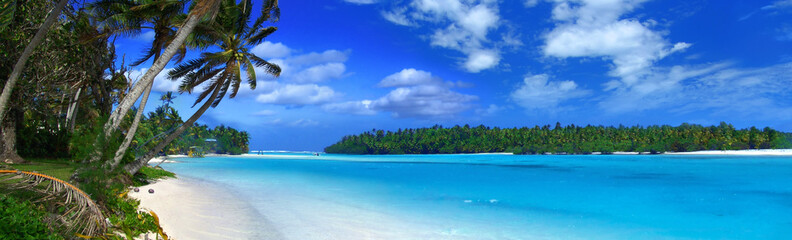 Canvas Prints Tropical beach panoramic lagoon ii