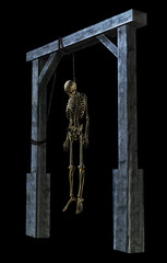 hanging skeleton on black