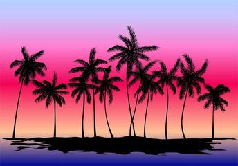 silhouette of palm trees on the sunset