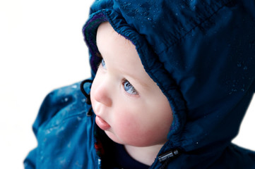 boy isolated wearing winter coat