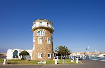 watchtower at almerimar port on the costa del almeria in spain