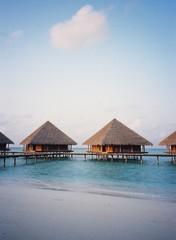 huts on stilts at maldives