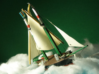 model boat suffering bad weather